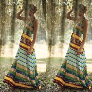 Anthro Tracy Reese Spectrum Stripe Maxi Dress